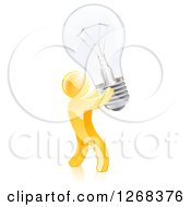 Clipart Of A 3d Creative Gold Man Carrying A Light Bulb Royalty Free Vector Illustration by AtStockIllustration
