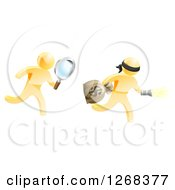 Poster, Art Print Of 3d Gold Detective Chasing A Thief With A Magnifying Glass