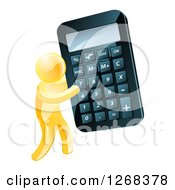 Clipart Of A 3d Gold Man Carrying A Giant Calculator Royalty Free Vector Illustration by AtStockIllustration