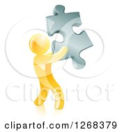 Clipart Of A 3d Gold Man Holding A Silver Puzzle Piece Royalty Free Vector Illustration