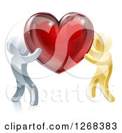 Clipart Of 3d Silver And Gold People Carrying A Red Heart Royalty Free Vector Illustration