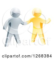 Clipart Of A 3d Friendly Silver Man Shaking Hands With A Gold Guy Royalty Free Vector Illustration