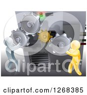 Clipart Of 3d Gold And Silver Men Adjusting Gear Cogs On A Machine Royalty Free Vector Illustration
