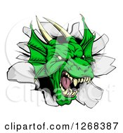 Snarling Fierce Green Dragon Mascot Head Breaking Through A Wall