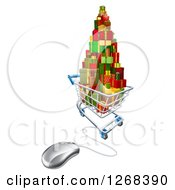 Clipart Of A 3d Shopping Cart Filled With Christmas Presents Connected To A Computer Mouse Royalty Free Vector Illustration
