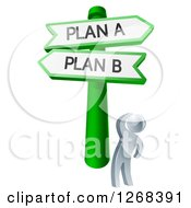 Clipart Of A 3d Silver Man Looking Up At Plan A Or B Crossroad Signs Royalty Free Vector Illustration