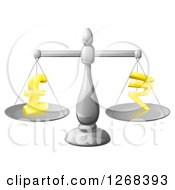 Clipart Of A 3d Silver Scale Comparing Pound And Rupee Symbols Royalty Free Vector Illustration