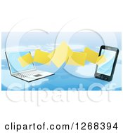 Clipart Of A 3d Cell Phone And Laptop Transfering Files Over A Map Royalty Free Vector Illustration by AtStockIllustration