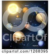 Clipart Of 3d Solar System Orbiting The Sun Royalty Free Vector Illustration