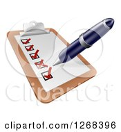 Clipart Of A Pen Checking Off A List On A Clipboard Royalty Free Vector Illustration by AtStockIllustration