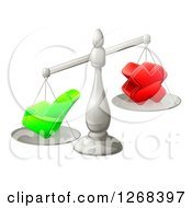 Clipart Of 3d Silver Scales Balancing A Check Mark And X Cross Royalty Free Vector Illustration by AtStockIllustration