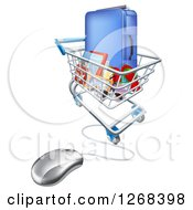 Clipart Of A Vacation Travel Booking Shopping Cart With Luggage And A Computer Mouse Royalty Free Vector Illustration