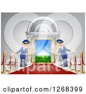 Clipart Of A Venue Entrance With A VIP Red Carpet And Welcoming Doormen Royalty Free Vector Illustration