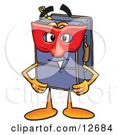 Clipart Picture Of A Suitcase Cartoon Character Wearing A Red Mask Over His Face