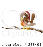 Clipart Of A Happy Christmas Robin Wearing A Santa Hat On A Snow Covered Branch Royalty Free Vector Illustration by AtStockIllustration