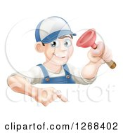 Clipart Of A Brunette White Male Plumber Holding A Plunger Over A Sign Royalty Free Vector Illustration
