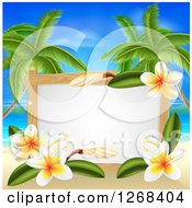Blank Sign With Plumeria Flowers On A Tropical Beach With Palm Trees