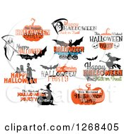 Clipart Of Halloween Greetings Royalty Free Vector Illustration by Seamartini Graphics