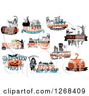 Clipart Of Halloween Party And Greeting Designs Royalty Free Vector Illustration by Seamartini Graphics