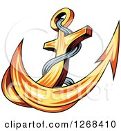 Clipart Of A Golden Ships Anchor And Rope 3 Royalty Free Vector Illustration