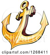 Clipart Of A Golden Ships Anchor 2 Royalty Free Vector Illustration by Seamartini Graphics