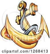 Clipart Of A Golden Ships Anchor And Rope 2 Royalty Free Vector Illustration