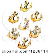 Clipart Of Golden Ship Anchors Royalty Free Vector Illustration
