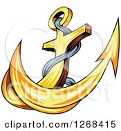 Clipart Of A Golden Ships Anchor And Rope Royalty Free Vector Illustration by Vector Tradition SM