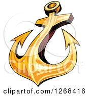 Clipart Of A Golden Ships Anchor Royalty Free Vector Illustration by Vector Tradition SM