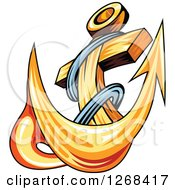 Clipart Of A Golden Ships Anchor And Rope 4 Royalty Free Vector Illustration