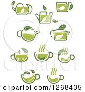 Poster, Art Print Of Green Tea Cup And Pot Designs