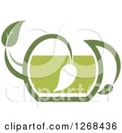 Poster, Art Print Of Pot Of Green Tea With A Leaf