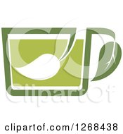 Poster, Art Print Of Green Tea Cup With Leaves