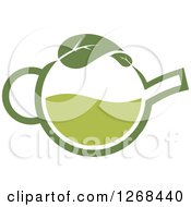 Poster, Art Print Of Pot Of Green Tea With A Leaf 3