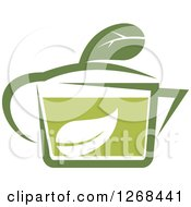 Poster, Art Print Of Pot Of Green Tea With A Leaf 4