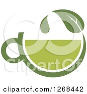 Poster, Art Print Of Green Tea Cup And Leaf With A Droplet
