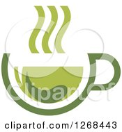 Poster, Art Print Of Steamy Green Tea Cup And Leaf