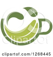 Poster, Art Print Of Steamy Green Tea Cup And Leaf 3