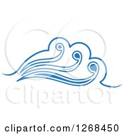 Clipart Of A Blue Ocean Surf Wave 5 Royalty Free Vector Illustration