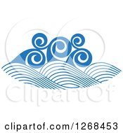 Clipart Of Blue Ocean Surf Waves Royalty Free Vector Illustration