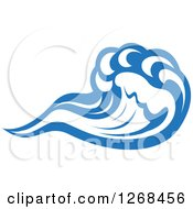 Clipart Of A Blue Ocean Surf Wave 3 Royalty Free Vector Illustration