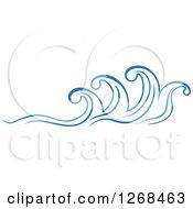 Clipart Of Blue Ocean Surf Waves 4 Royalty Free Vector Illustration