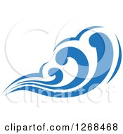 Clipart Of A Blue Ocean Surf Wave 4 Royalty Free Vector Illustration by Seamartini Graphics