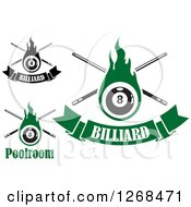 Clipart Of Flaming Eightball And Billiards Cue Stick Designs Royalty Free Vector Illustration