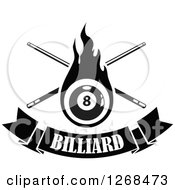 Clipart Of A Black And White Flaming Eightball With Billiards Cue Sticks Over A Text Banner Royalty Free Vector Illustration