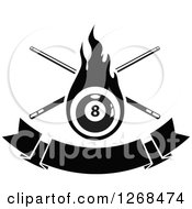 Clipart Of A Black And White Flaming Eightball With Billiards Cue Sticks Over A Blank Banner Royalty Free Vector Illustration by Vector Tradition SM