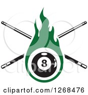 Clipart Of A Green Flaming Eightball With Crossed Billiards Cue Sticks Royalty Free Vector Illustration by Vector Tradition SM