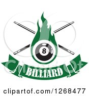 Clipart Of A Green Flaming Eightball With Billiards Cue Sticks Over A Text Banner Royalty Free Vector Illustration
