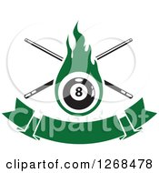 Clipart Of A Green Flaming Eightball With Billiards Cue Sticks Over A Blank Banner Royalty Free Vector Illustration by Vector Tradition SM