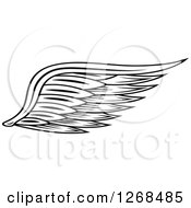 Clipart Of A Black And White Feathered Wing 4 Royalty Free Vector Illustration